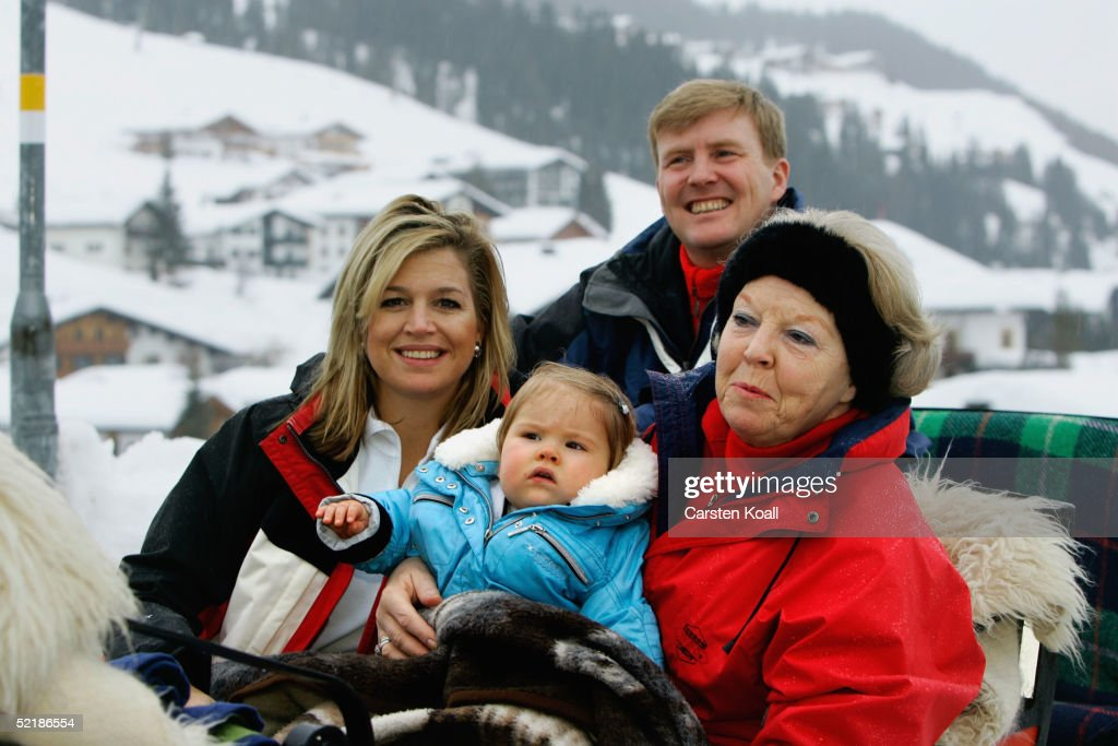 Dutch royalty, Princess Maxima (L), Prince Willem Alexander (C) their daughter Princess Almalia and Queen Beatrix pose at a photocall during their winter holiday on June 5, 2005 in Lech, Austria.