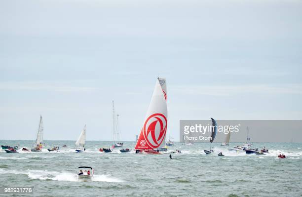 Dutch sailor Carolijn Brouwer and her team enters the port of The Hague as thousands gather at The Hague beach for the end of the Ocean Race on June...