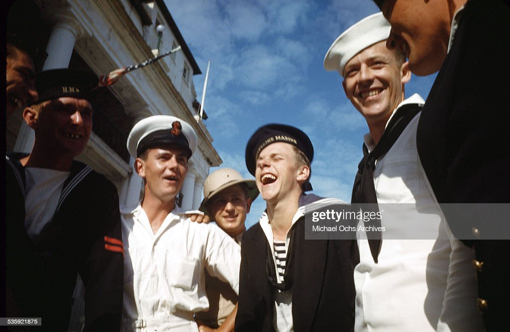 Dutch Sailors from Koninklijke Marine (Royal Navy) on shore leave with U.S. Marines from the USS Iowa in Bermuda.
