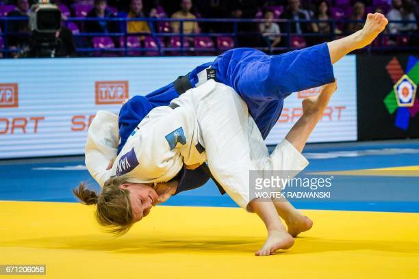 Dutch Sanne Van Dijke fights with Giovanna Scoccimarro in the final of women under 70 competition of European Judo Championship in Warsaw April 21...