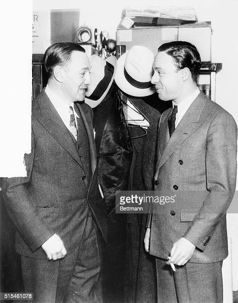 Dutch Schultz at left and his attorney J Richard Davis of New York City are shown at the United States Court in Albany where they appeared before the...