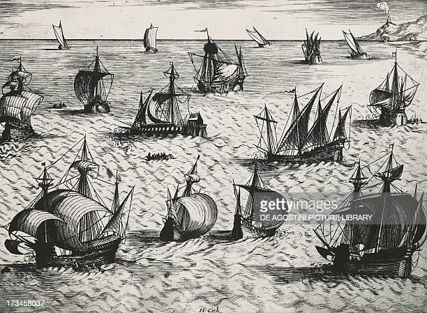 Dutch ships engraving 18th century