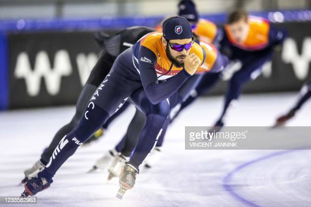 Dutch short track speed skater Sjinkie Knegt sets the pace for the short track selection during the first training session on the summer ice of...