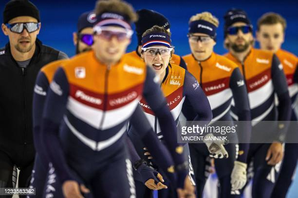 Dutch short track speed skater Suzanne Schulting joins the short track selection during the first training session on the summer ice of Thialf which...