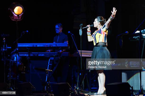 Dutch singer Caro Emerald performs on stage at Usher Hall on December 1 2015 in Edinburgh Scotland