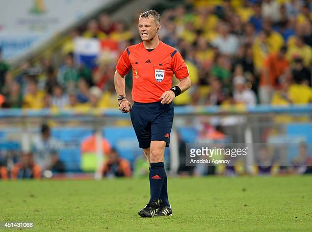 Dutch soccer referee Bjorn Kuipers refrees the match World Cup match between Colombia and Uruguay at the Maracana Stadium in Rio de Janeiro Brazil on...