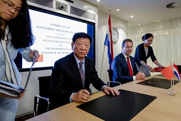 Dutch Social Affairs Minister Lodewijk Asscher 2nd R Seats Next To
