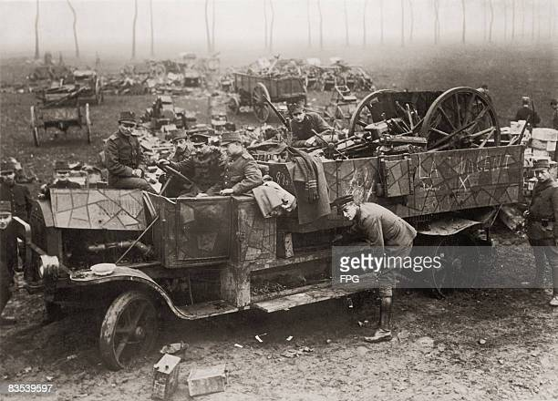 Dutch soldiers disarming a German military convoy returning to Germany via the Limburg province of the Netherlands after the signing of the Armistice...