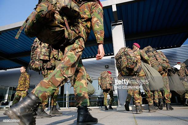 Dutch soldiers part of the flash power military unit a rapid intervention force which also includes Germany and Norway prepare for a international...