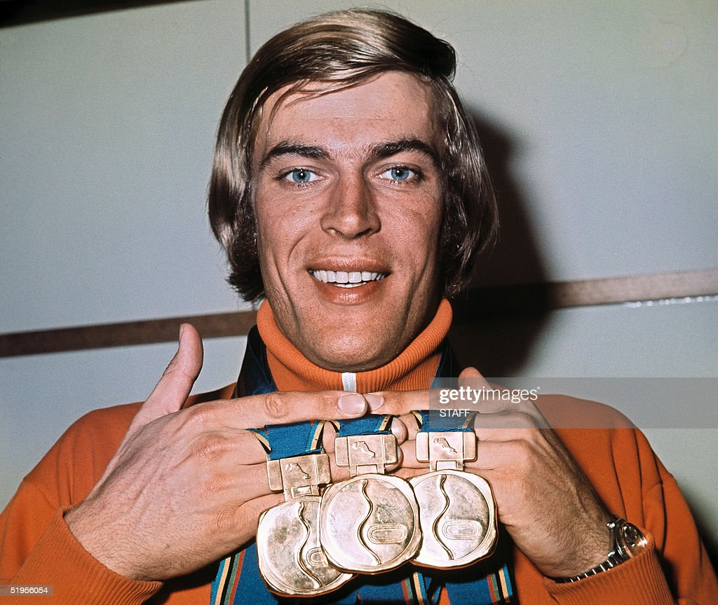 Dutch speed skater Ard Schenk smiles in April 1972 while displaying his three gold medals won at the Winter Olympics in February 1972 in Sapporo (Japan). Ard Schenk won the 1500m, 5000m and the 10.000m.