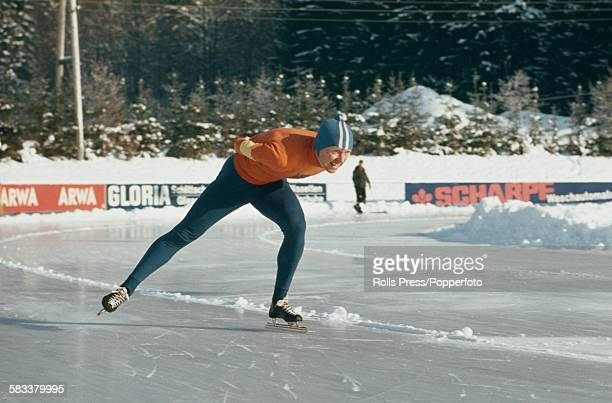 Dutch speed skater Peter Nottet pictured competing in a speed skating event in 1967