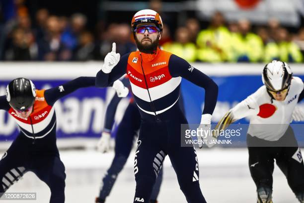 Dutch speed skater Sjinkie Knegt reacts after winning the B final in the 1500 meters during the ISU World Cup Final Shorttrack in Dordrecht, on...