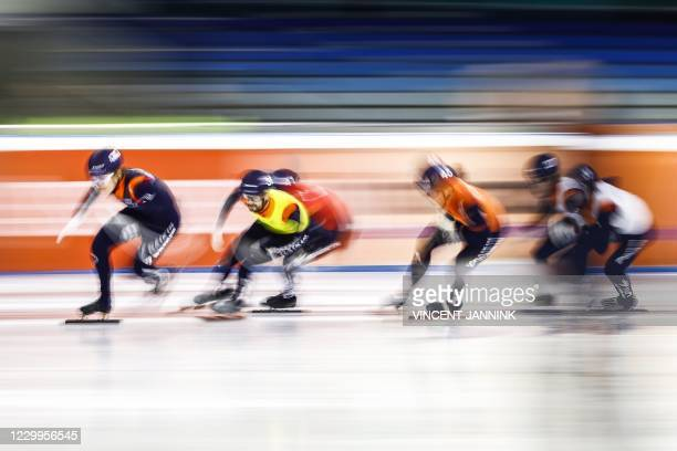 Dutch speed skaters Melle Van 't Wout, Itzhak De Laat, Sjinkie Knegt, Bram Steenaart, Friso Emons compete during the semi-final 1000 meters as part...