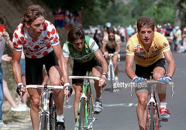 Dutch Steven Rooks wearing the red and white Polka Dot Jersey of the best climber rides side by side Spaniard Pedro Delgado wearing the Yellow Jersey...
