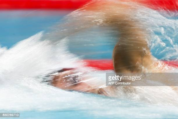 Dutch swimer Ranomi Kromowidjojo competes in the 100 metres free wave event during the 2017 FINA World Cup Series in Eindhoven on August 11 2017 /...