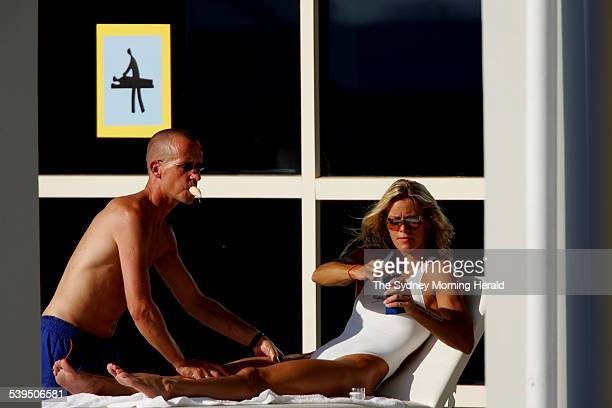 Dutch swimmer Inge de Bruijn gets a rub down after a training session at the Athens Olympic Aquatic Centre on 9 August 2004 SMH SPORT Picture by...