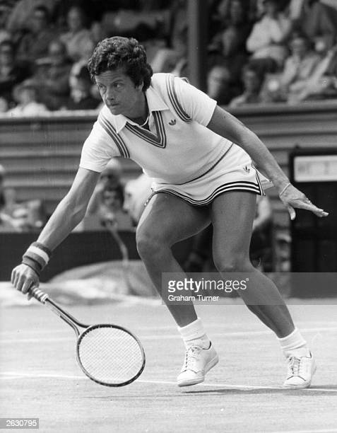 Dutch tennis player Betty Stove playing in the BMW Eastbourne Championship She beat her opponent Martina Navratilova in three sets
