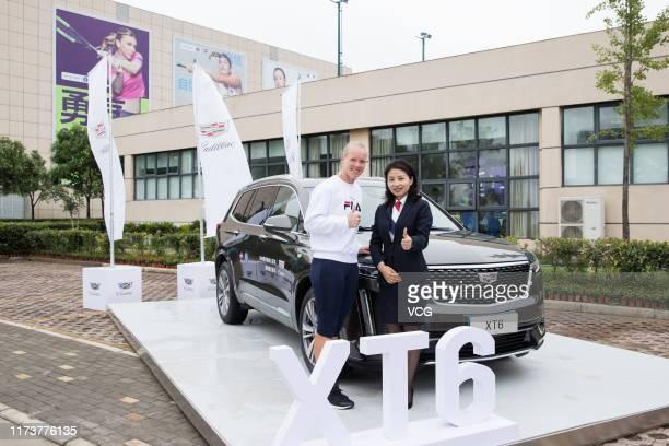 Dutch tennis player Kiki Bertens attends Cadillac event on day three of the Zhengzhou Open 2019 on September 11, 2019 in Zhengzhou, Henan Province of...