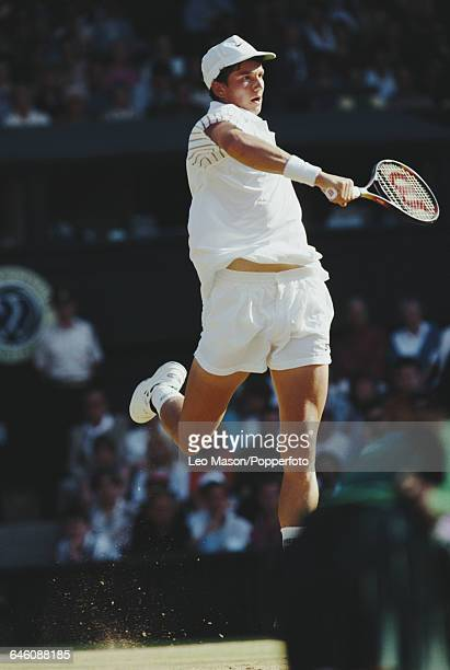 Dutch tennis player Richard Krajicek pictured in action competing to reach the fourth round in the Men's Singles tournament at the Wimbledon Lawn...