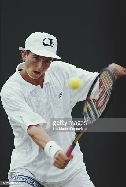 Dutch tennis player Richard Krajicek pictured in action competing to reach the third round in the Men's Singles tournament at the Wimbledon Lawn...