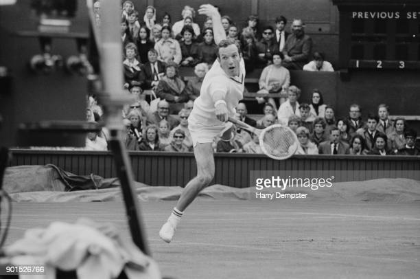 Dutch tennis player Tom Okker in action at Wimbledon UK 28th June 1968