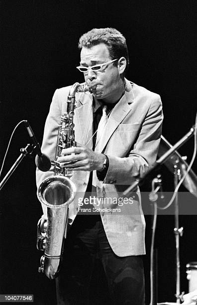 Dutch tenor saxophone player Jan Cees Tans of ATO performs on stage at Jazzmarathon on June 7 1981 in Groningen Netherlands