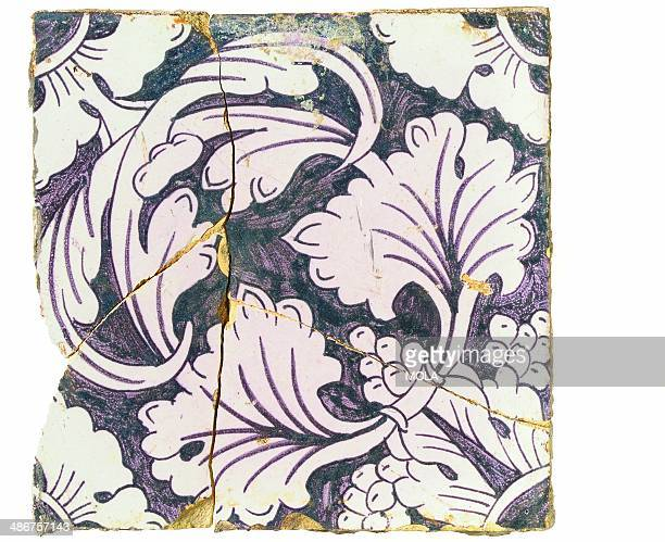 Dutch tile with a complex floral design c 17401800 from the 19922001 excavations at the Merrill Lynch Financial Centre City of London