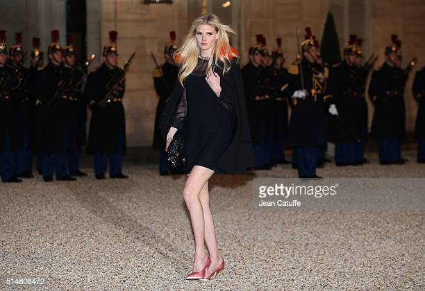 Dutch topmodel Lara Stone arrives at The State Dinner in Honor Of King WillemAlexander of the Netherlands and Queen Maxima at Elysee Palace on March...