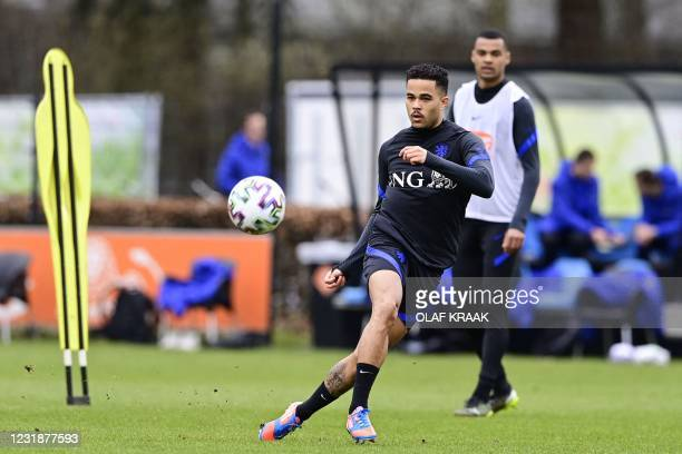 Dutch under 21 national football team player Justin Kluivert attends a training session on March 22, 2021 in Zeist ahead of the Euro 2021 in Hungary...