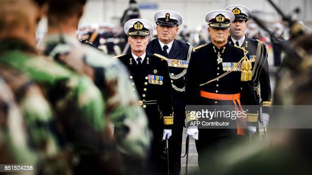 Dutch vice admiral Rob Kramer who will succeed Rob Verkerk as Commander of the Royal Netherlands Navy and Admiral Benelux attends a ceremony in Den...
