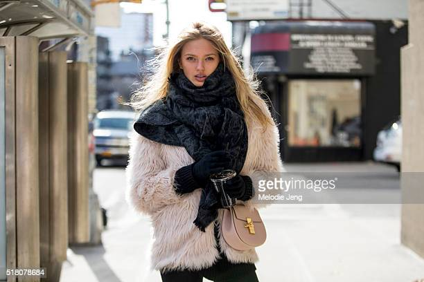 Dutch Victoria's Secret model Romee Strijd is caught in Chelsea during New York Fashion Week Women's Fall/Winter 2016 on February 13 2016 in New York...