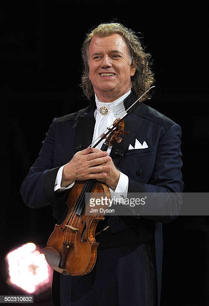 Dutch violinist and conductor Andre Rieu performs with the Johann Strauss Orchestra at Wembley Arena on December 22 2015 in London England