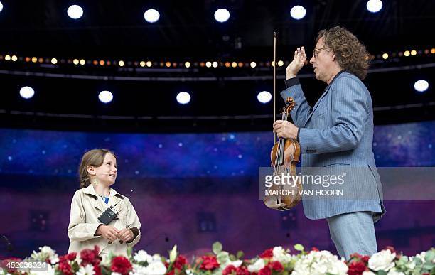 Dutch violinist Andre Rieu rehearses together with 10year winner of TV programme Holland's Got Talent Amira Willighagen a talented opera singer for a...