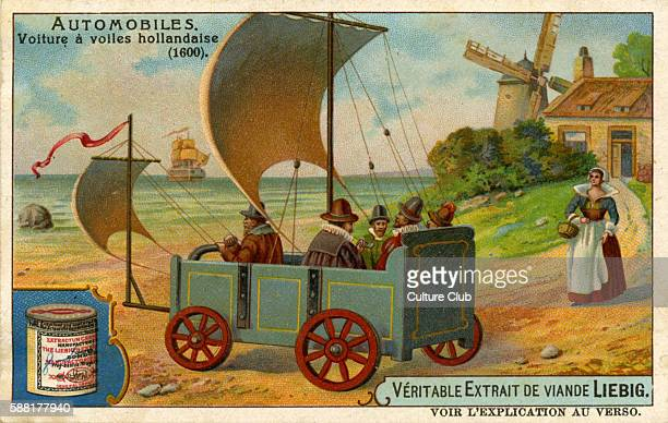 Dutch voiture à voiles from 1600 a wheeled vehicle powered by wind through the use of a sail used especially in the coastal areas