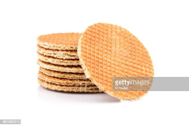 dutch waffle isolated on a white background - syrup stock pictures, royalty-free photos & images