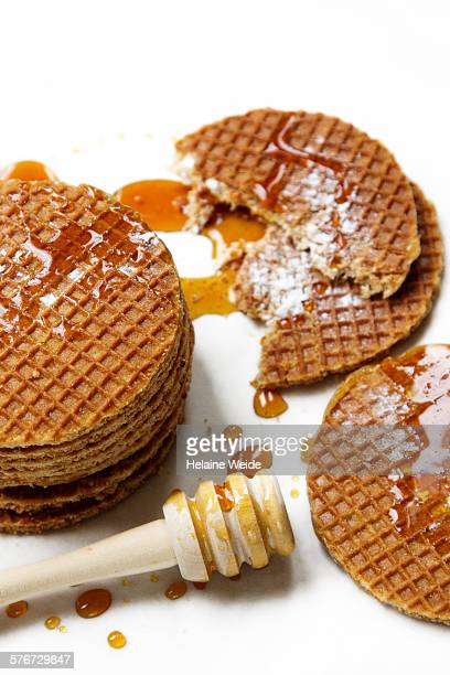 Dutch waffles with caramel syrup