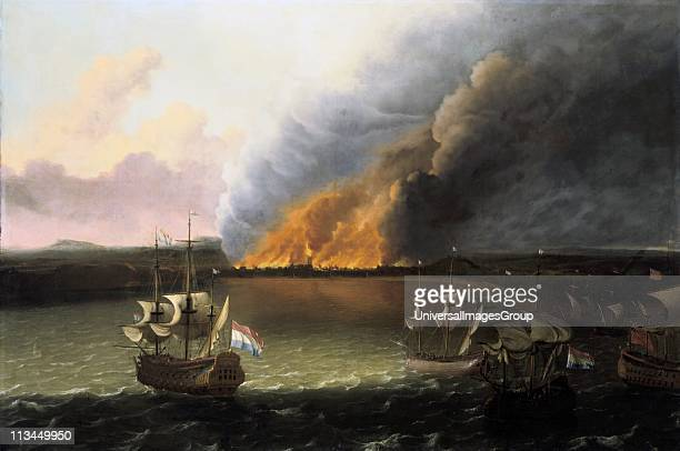 Dutch warships burning the English fleet in Chatham docks June 1667 Circle of Rudoff Bajkhaysen Dutch painter Oil on canvas Under Admiral de Ruyter a...