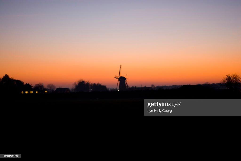 Dutch Windmill at sunset : Stock Photo