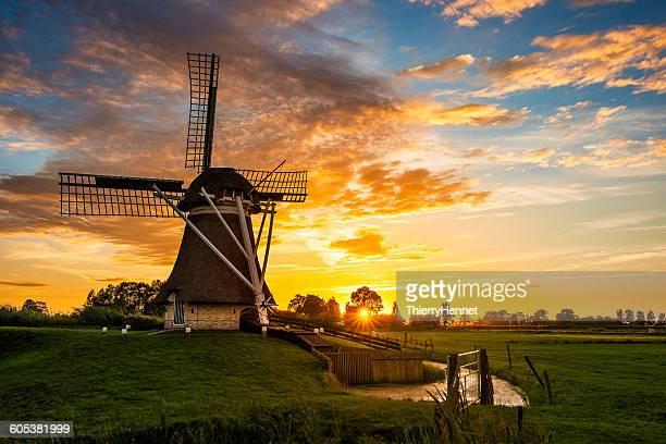 Dutch windmill, Friesland, Netherlands