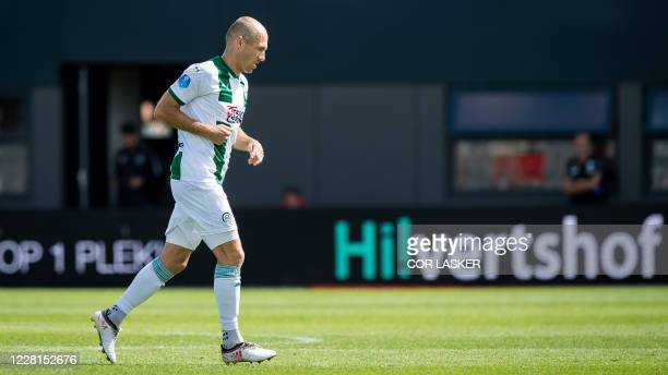 Dutch winger Arjen Robben of FC Groningen plays during the match between Almere City FC and FC Groningen at the Yanmar Stadium on August 22, 2020 in...