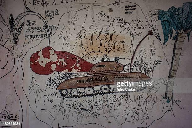 'Dutchbat' graffiti on the walls of the former UN peacekeeping headquarters