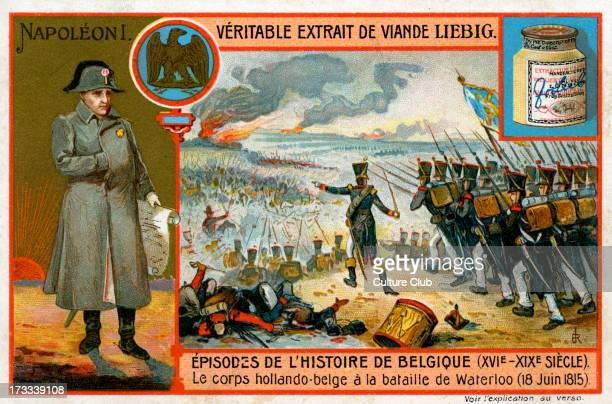 DutchBelgian troops fighting with the English against Napoleon I at the Battle of Waterloo 18 June 1815 Liebig series Episodes de l'histoire Belgique...