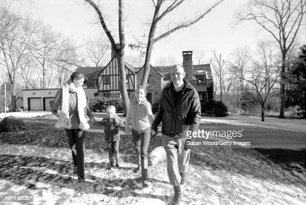 Dutchborn businesswoman and former model Wilhelmina Cooper and her husband former television executive Bruce Cooper walk hand in hand with their...
