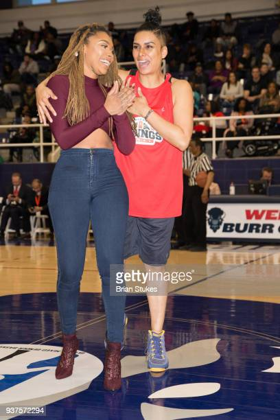 Dutchess Lattimore and Laura Govan attend Master P's Global Mixed Gender Basketball League Diabetes Health Initiative Game at Howard University Burr...