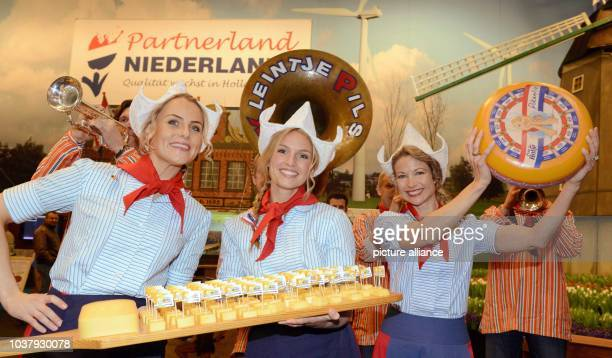 Dutch Meisjes hold cheese during at a press conference at the Holland Hall at Green Week in Berlin Germany 17 January 2013 Holland is this year's...