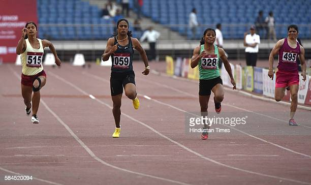 Dutee Chand of Odisha during the 20th Federation Cup senior National Athletis Championships at JN Stadium on April 28 2016 in New Delhi India She...