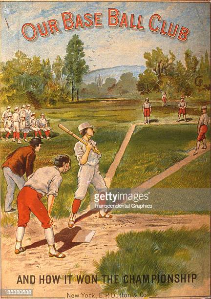 EP Dutton publishers use a decorative and colorful front cover to sell the book Our Base Ball Club printed in 1884 in New York CIty