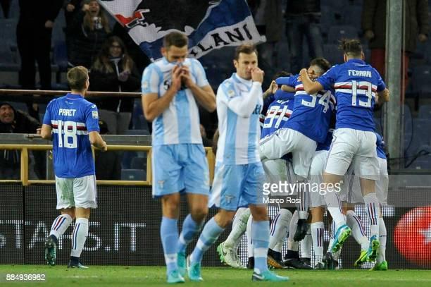 Duva Zapata of UC Sampdoria celebrates a opening goal with his team mates during the Serie A match between UC Sampdoria and SS Lazio at Stadio Luigi...