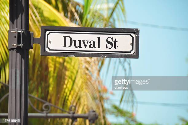 duval street sign in key west florida - duval street stock pictures, royalty-free photos & images