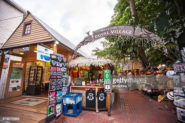 duval village entrance, key west, florida, usa - duval street stock pictures, royalty-free photos & images